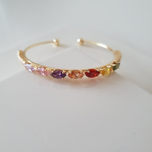 Colorful Stone Lined Bracelet