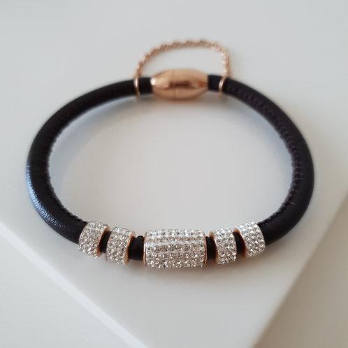 Brown Leather Zircon Bracelet