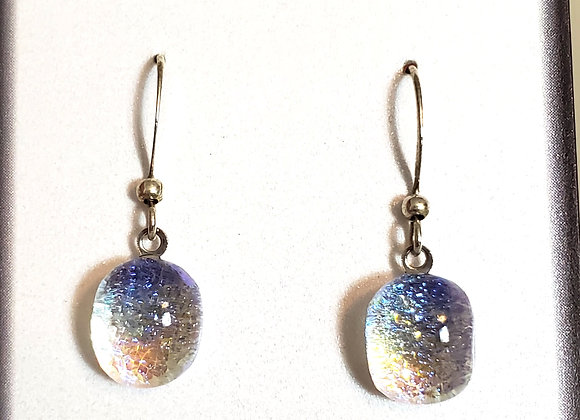 video of Dichroic glass Dangle dots (teal purp)