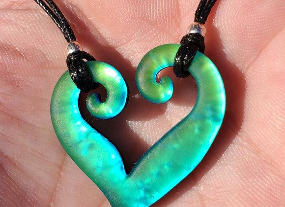 Double spiral lime aqua green Dichroic Glass Pendant Sand blasted