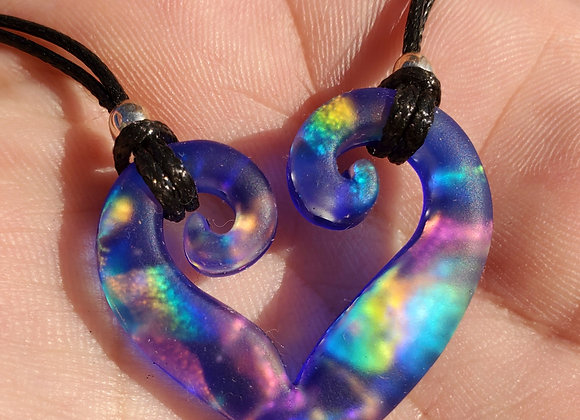 Double spiral blue rainbow heart carved Dichroic pendant medium