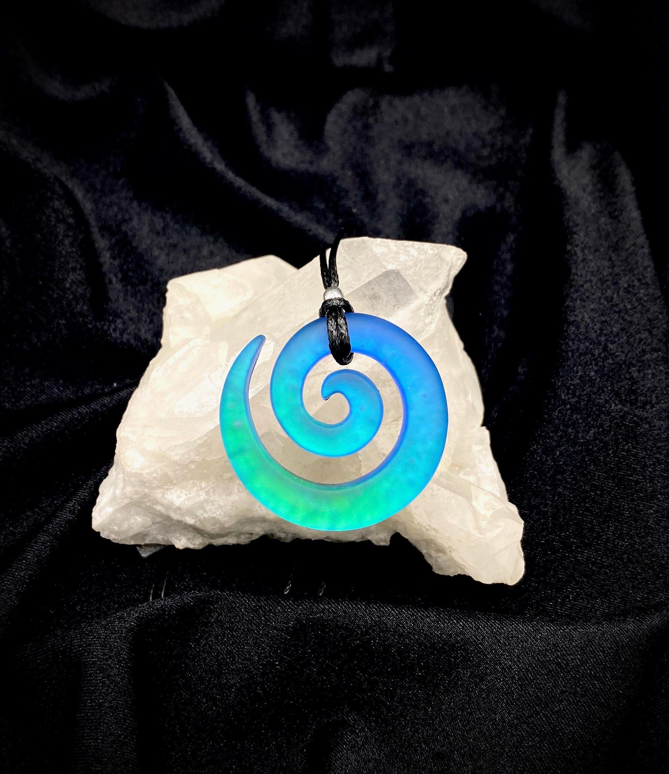 Small carved dichroic glass spiral lite green purple sandblasted pendant
