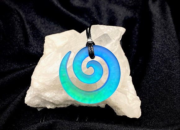 Blue/Green Spiral Dichroic Glass Pendant Sandblasted - Medium