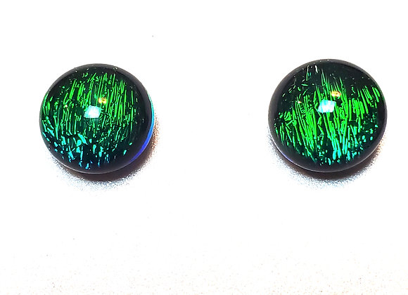 video of Dichroic glass post earrings (emerald green w\ blue)