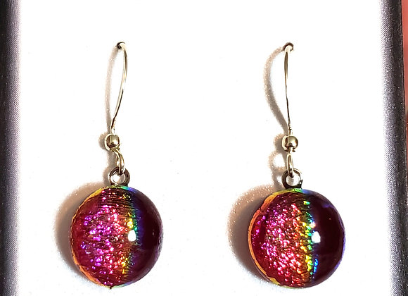 video of Dichroic glass Dangle dots (red rainbow)