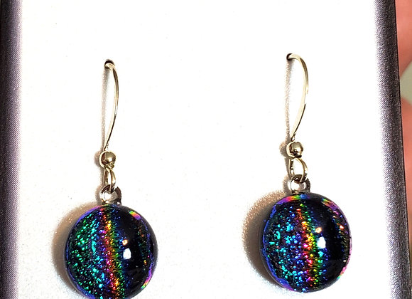 video of Dichroic glass Dangle dots (purple spectrum)