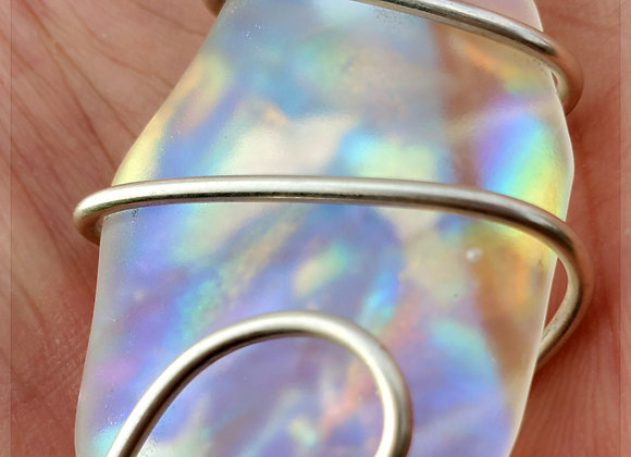 Green blue Purple rainbow galaxy dust silver wrap.  Sandblasted dic