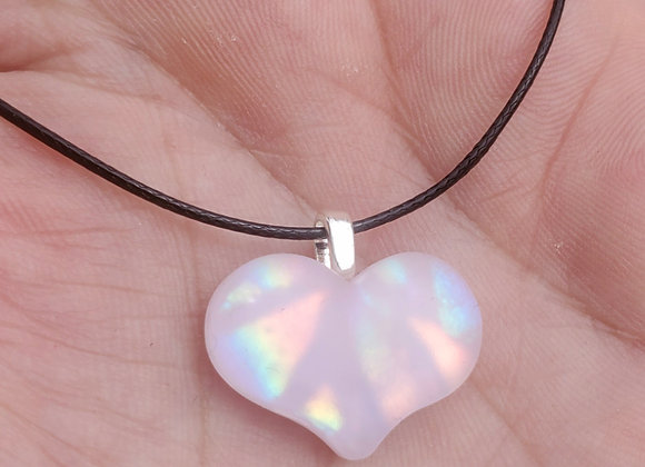 Glass Heart pendant.. carved pink rainbow sandblasted Dichroic glass