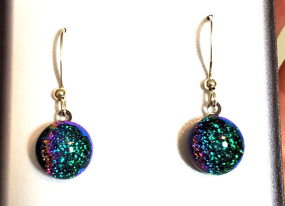 video of Dichroic glass Dangle dots (teal rainbow)