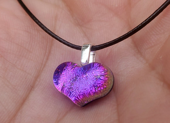 Glass Heart pendant.. carved pink purple Dichroic glass