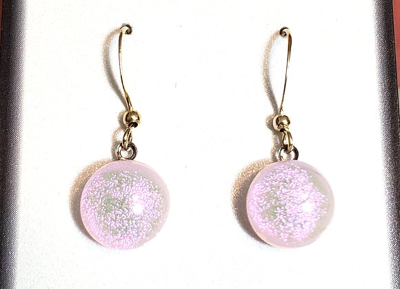 video of Dichroic glass Dangle dots (pinky purp)