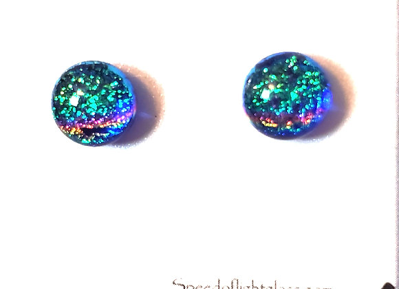 video of Dichroic glass post earrings (teal rainbow on blue)