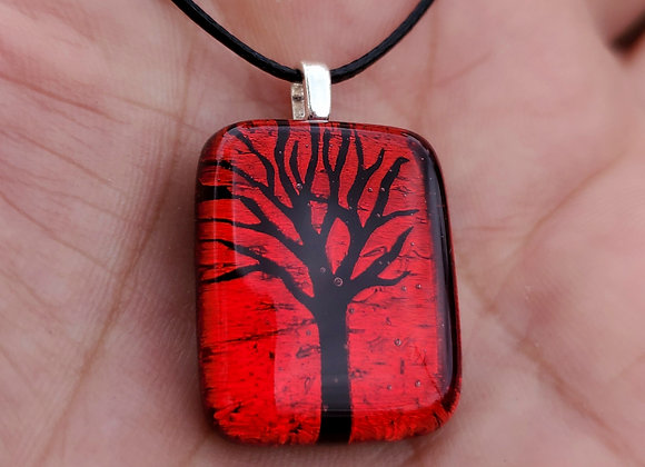 Dichroic glass Tree of life Pendant red