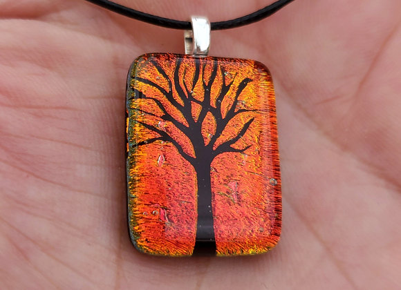Dichroic glass Tree of life Pendant orangy copper sunset