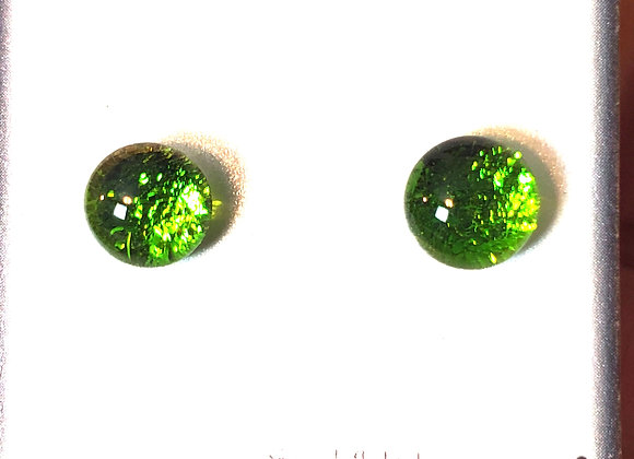 Dichroic glass post earrings (spring green)