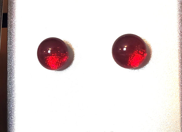 Dichroic glass post earrings (red)