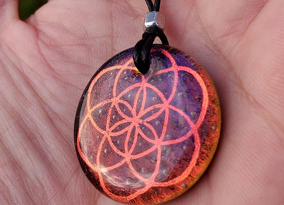 Seed of light purply dichroic glass pendant