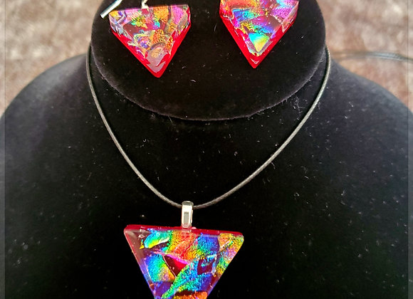 Pyramid  power set chiped rainbow on red dichroic glass