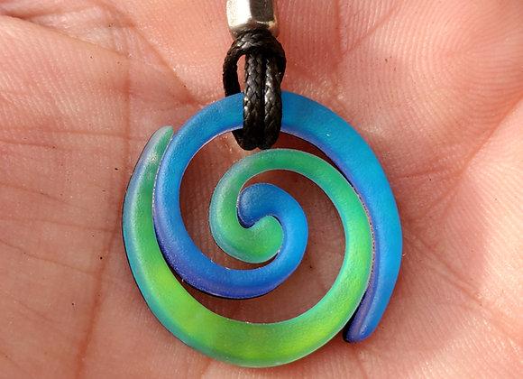Vortex Blue/Green Dichroic Glass Pendant - Small