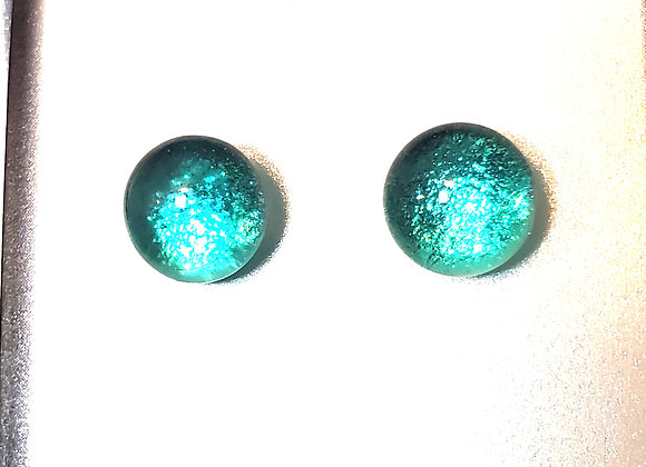 video of Dichroic glass post earrings (sea foam)