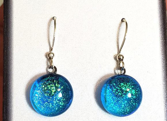 video of Dichroic glass Dangle dots (aqua blue spectrum)