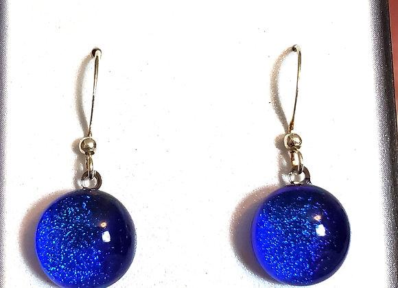video of Dichroic glass Dangle dots (cobalt w/aqua)