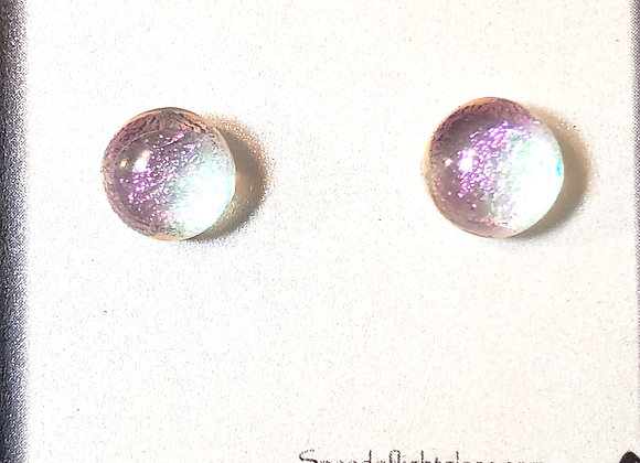 video of Dichroic glass post earrings (pinky purp on silver)