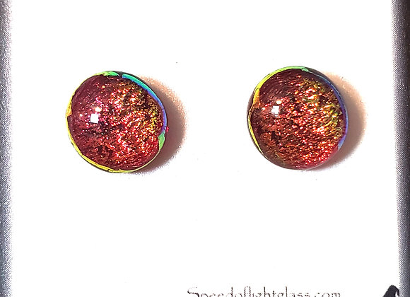video of Dichroic glass post earrings (sunset)