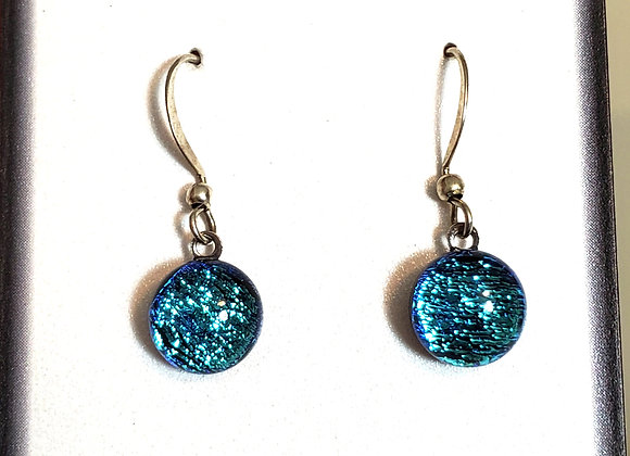 video of Dichroic glass Dangle dots (teal crinkle)
