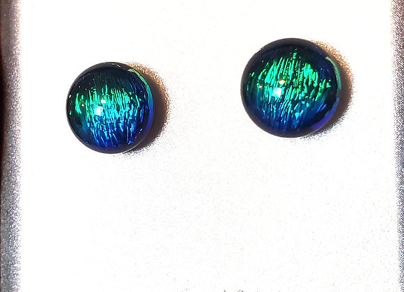 video of Dichroic glass post earrings (bleu green)