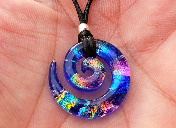 Blue Rainbow Galaxy Spiral Dichroic Glass Pendant - Small