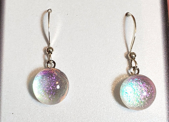 video of Dichroic glass Dangle dots (purple silver)