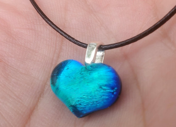Glass Heart pendant.. carved Teal Aqua blue green Dichroic glass