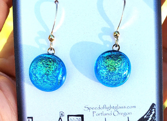 video of Dichroic glass Dangle dots (aqua lime)