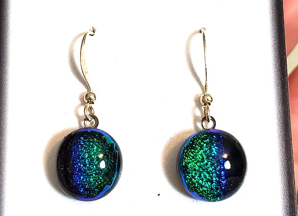 video of Dichroic glass Dangle dots (green blue spectrum)