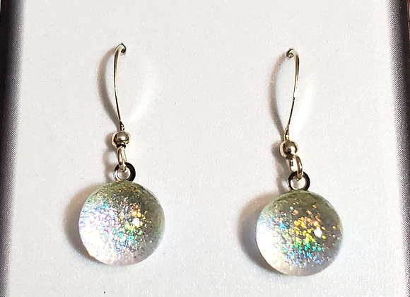 video of Dichroic glass Dangle dots (silver rainbow)