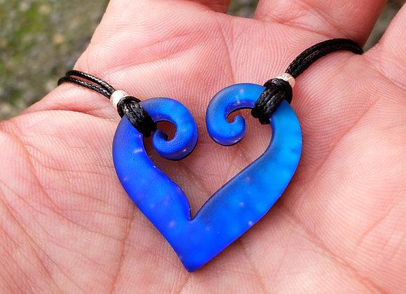 Dub Heart Blue Fade Dichroic Glass Pendant Sand blasted