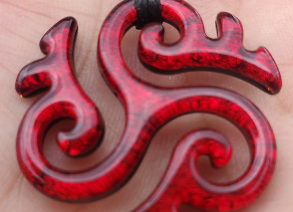 Triskelion Red Hand Carved Dichroic Glass Pendant Medium