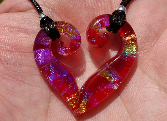 Double spiral red rainbow heart carved Dichroic pendant medium