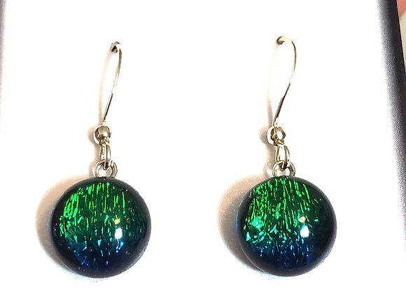 video of Dichroic glass Dangle dots (emerald blue)