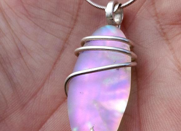 Purple rainbow galaxy dust silver wrap.  Sandblasted dic