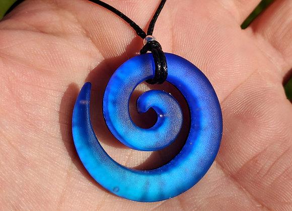 Blue cobalt teal Spiral Sandblasted Dichroic Glass Pendant - Medium