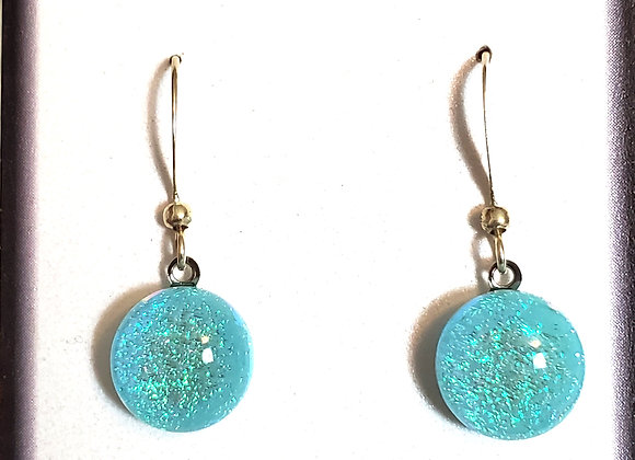 video of Dichroic glass Dangle dots (seafoam green)