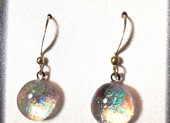 video of Dichroic glass Dangle dots (clear double rainbow)