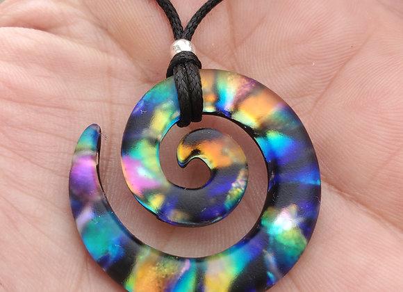 Galexy rainbow Spiral Sandblasted Dichroic Glass Pendant - medium