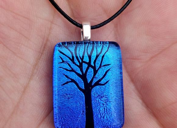Dichroic glass Tree of life Pendant blue green