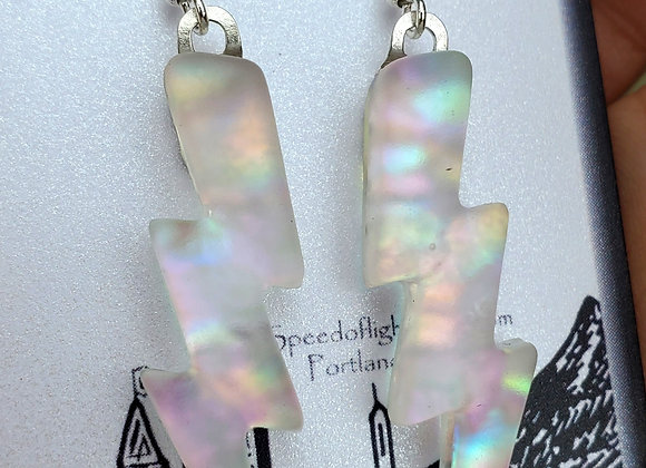 Glass lightning bolt earrings rainbow sandblasted Dichroic glass