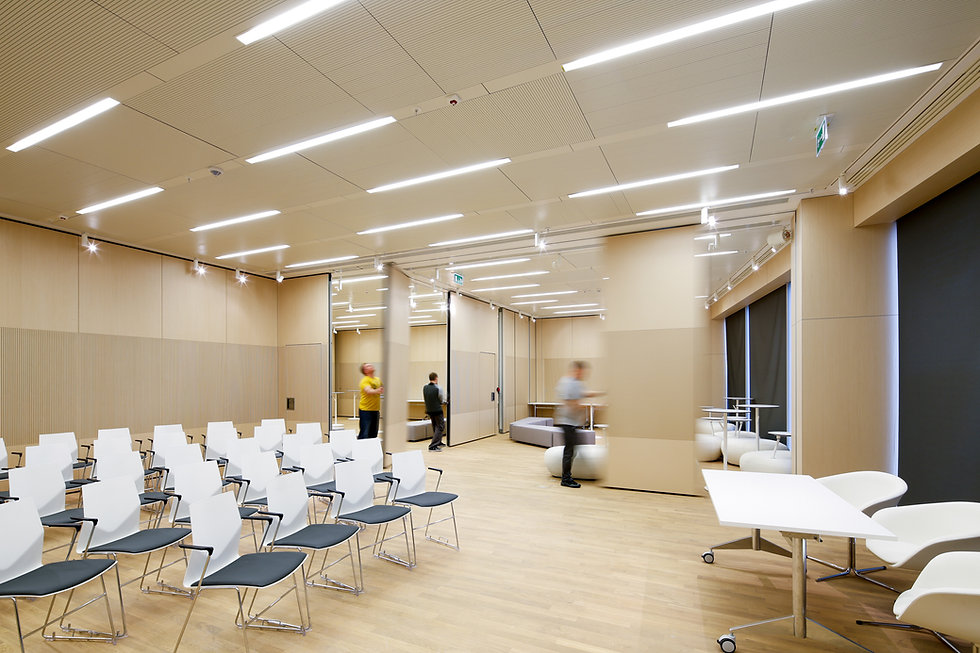 acoustical operable partition in meeting room
