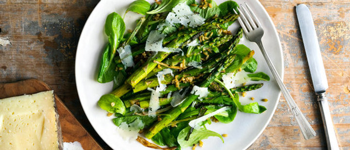 Roasted Asparagus, Toasted Farro and Caramelized Scallion Salad