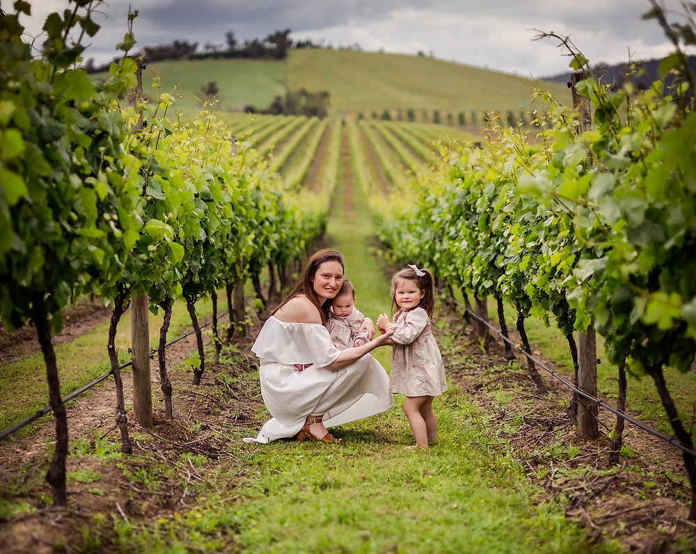 My girls and I amongst the vines